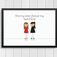 Personalised 'Sisterly Love' Cartoon Portrait