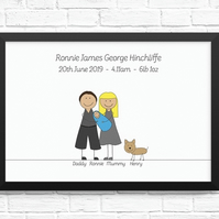 Personalised 'New Baby' Cartoon Print