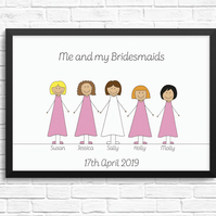 Personalised 'Bridesmaids' Cartoon Print
