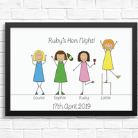 Personalised 'Hen Night' Cartoon Print