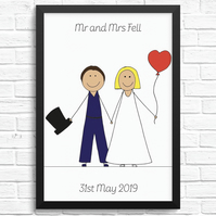 Personalised 'Wedding' Cartoon Print