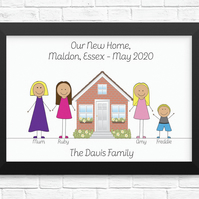 Personalised New Home Family Cartoon Print - Housewarming Gift