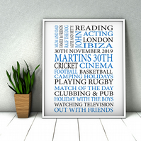 Personalised Birthday Word Print