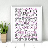 Personalised Wedding Word Print