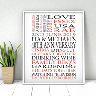 Personalised Anniversary Word Print