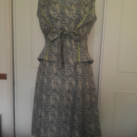 Two-piece poplin dress Floral Green with Lime trims
