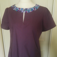 Mauve Cotton work dress with floral band, UK size 10