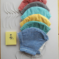 Set of 6 Cotton Face Masks Gingham Check, with elastic loops, nose bridge wire