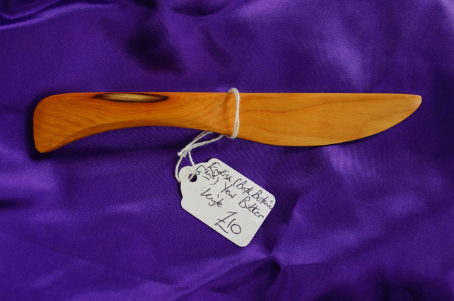 Yew wood butter knife
