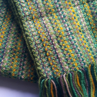 Hand Knit Scarf in Green Tones Free Post