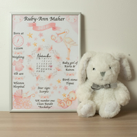 "A4 Personalised Pink ""on the day you were born"" print"
