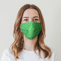 ComfyMasky Unisex Bright Dash Green Premium Pleated Cotton Face Mask