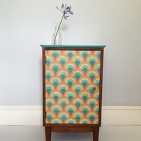 Rainbow multicoloured retro hand painted bedside cupboard