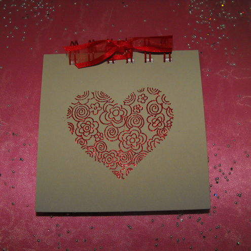 Sparkly Red Heart Jotter
