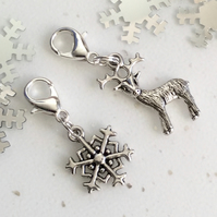 Reindeer and Snowflake stitch markers - 2 Charm Set