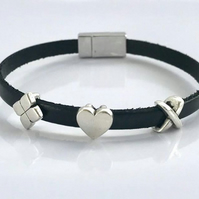 Triple Leather Charm Bracelet