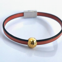 Gold Ball Charm Leather Bracelet