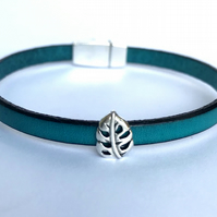 Teal Leather Charm Bracelet