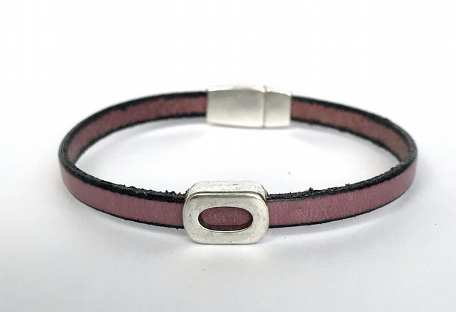 Dusky Purple Leather Charm Bracelet