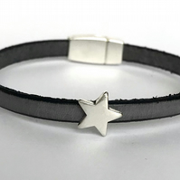 Grey Leather Charm Bracelet