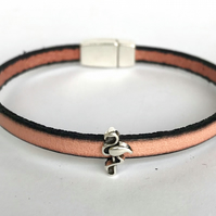 Salmon Leather Charm Bracelet