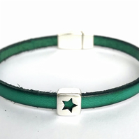 Green Leather Charm Bracelet
