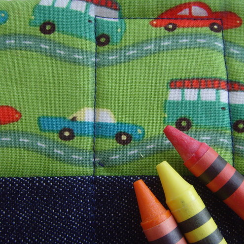 Green car and denim quilted crayon roll, with 12 Crayola crayons