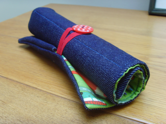 Quilted car and campervan print, and denim pencil roll with 12 coloured pencils