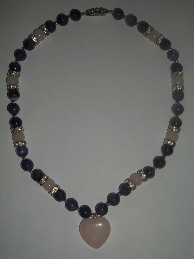 Amethyst and Rose Quartz Choker