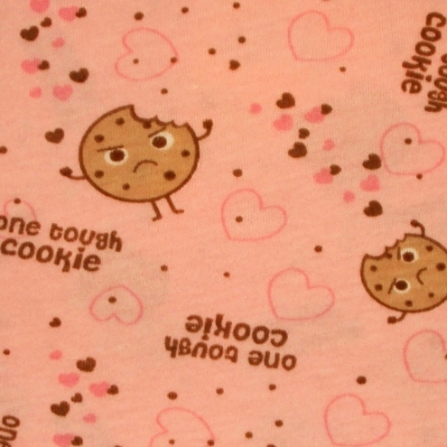 "David & Goliath ""One Tough Cookie"" Heart Cartoon Fabric, Large FQ"