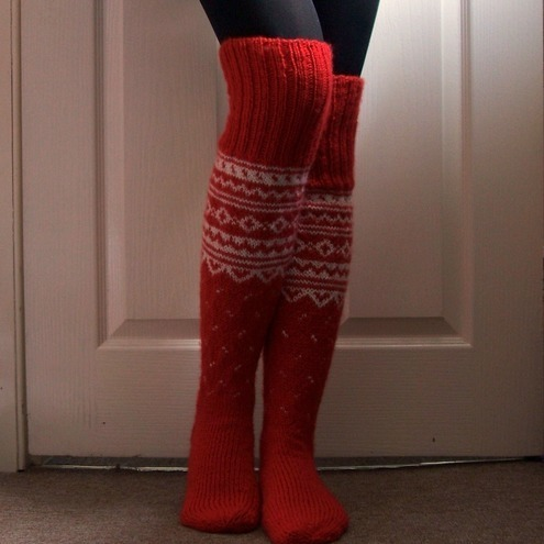 Red Long Winter Socks