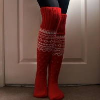 Red white handmade long wool socks scandinavian norwegian