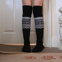 Long Over the Knee Black white socks handmade scandinavian norwegian christmas