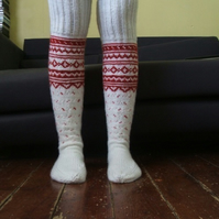 Hand Knit Wool Socks Long Above the Knee Red White Scandinavian Fairisle
