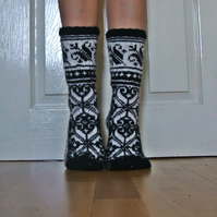 Hand-knitted Black White Wool Socks Scandinavian Fairisle Floral Christmas