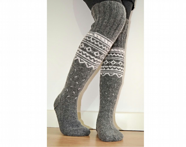 b1701b137ef6d Wool Socks Hand-knitted Long Above The Knee Gre... - Folksy