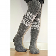 Wool Socks Hand-knitted Long Above The Knee Grey White Winter Nordic Patterned