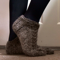 Luxury Alpaca Socks Slippers with Cables Grey Brown