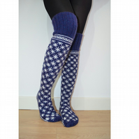 Hand Knit Wool Socks Above the Knee Blue White Christmas Snowflake Fairisle