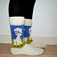READY TO SHIP Wool Socks Lamb White Green Blue Christmas Winter Autumn