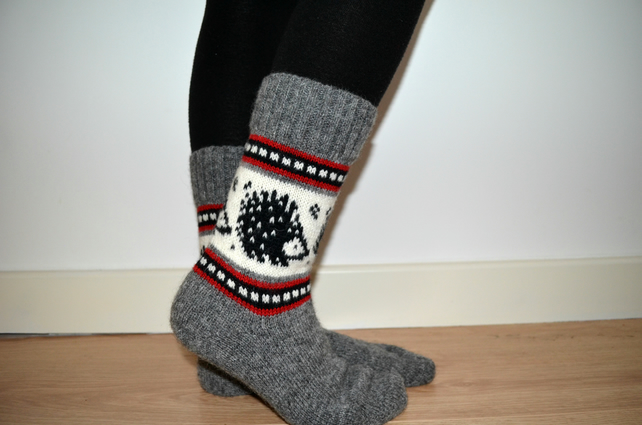 READY TO SHIP Wool Socks Hedgehog Winter Christmas Grey White Black Red