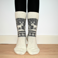 READY TO SHIP Wool Socks Elk Reindeer Christmas Winter White Grey Fair Isle