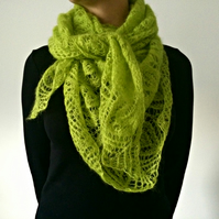 READY TO SHIP Silk Mohair Apple Green Shawl Lace Scarf Leaf Patterned