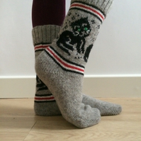 Wool Socks Grey Black Cat Kitten Christmas Unique Funny