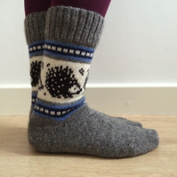 READY TO SHIP Wool Socks Hedgehog Winter Christmas Grey White Black Blue