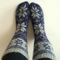 Hand Knit Wool Blue Grey Socks Scandinavian Nordic Star Men Masculine Unisex
