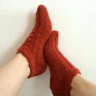 Luxury Alpaca Short Socks with Cables in Rust Mix. Wide variety of colours
