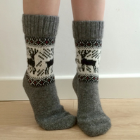 Grey Wool Socks with Reindeer Elk Buck Scandinavian Norwegian Christmas Fairisle