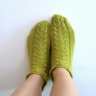 Luxury Alpaca Short Socks with Cables in Dark Lime . Wide variety of colours