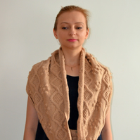 READY TO SHIP Beige Wool Circular Infinity Scarf with Cables